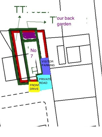 Title plan for land to east of number 7 has our front drive missing, and private road and visitor parking also not designated.